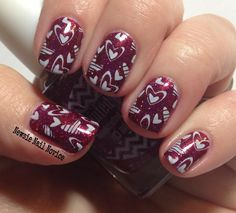 Stamping Over Painted Polish Vampy Valentine Holo