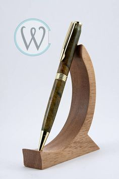 Items similar to Trimline Twist in with double dyed Green and Yellow Maple Burl on Etsy Wood Pen Holder, Pen Holders, Wood Phone Stand, Bamboo Crafts, Wood Scraps, Pen Turning, Wood Turning Projects, Woodworking Projects Diy, Ballpoint Pen