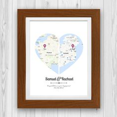His & Her Heart Map Engagement Gift print shows where they are from with maps. T… His & Her Heart Map Engagement Gift print shows where they are from with maps. The print is Simply enter the County of the happy couple. Engagement Gifts For Him, Personalized Engagement Gifts, Engagement Outfits, Couple Presents, Couple Gifts, Traditional Engagement Gifts, Wedding Gifts For Bride And Groom, Exotic Wedding, Heart Map