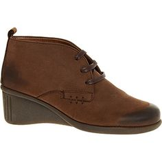 Aerosoles Dark Brown Leather Wedge Ankle Boots