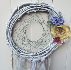 design idea for a home blessing and protection wreath. use grape vines for prosperity and special stones for protection & LOVE. sage, feathers, flowers, symbols, herbs