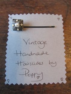 #Hairslides #Handmade in #Harrogate by Poppy. This 1920's vintage button makes a beautiful hairslide, it's #4 in my collection, and possibly my favourite! My range of handmade hairslides are available at Hush Jewellery shop in the Victoria Shopping Centre in Harrogate, North Yorkshire. Come in and see us, we have a fantastic range of jewellery, scarves and accesories. Or have a look at the shop on their Twitter, @HushJewellery, and my hairslides on Twitter @Poppys_Buttons. Thank you!