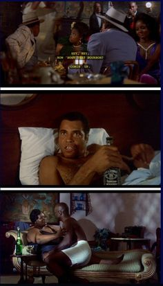 The Bingo Long Traveling All-Stars and Motor Kings (1976) Part I…Leon Carter (James Earl Jones) swigging down some Jack Daniels after having his night with Pearline abruptly interrupted. While Bertha (Mabel King) tries to get herself some lovin with her bubbly!!!!