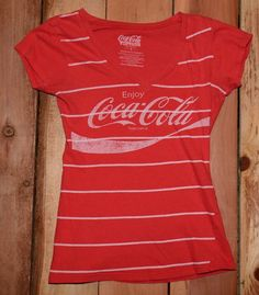 Vintage Coca-Cola V-Neck Graphic Tee Shirt. Size: Woman's Small Armpit - Armpit: 15 inches Collar - Hem: 22 inches Color: Coke Red with white horizontal stripes Womens Vintage Tees, Graphic Tee Shirts, Coke, Coca Cola, Stripes, V Neck, Mens Tops, Fashion, Moda