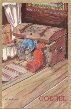 Aukrust julekort postgått 1962 Oppi Christmas 2017, Christmas Cards, Christmas Postcards, Character Development, Vintage Postcards, Elves, Norway, Scandinavian, Decoupage
