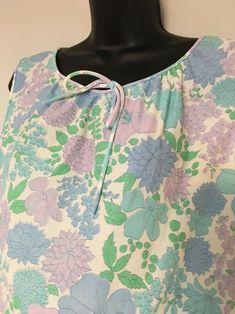 a218525804 Vtg Katz Nightgown Medium Nylon Floral Sleeveless Blue Green Lavender  Katz   Gowns