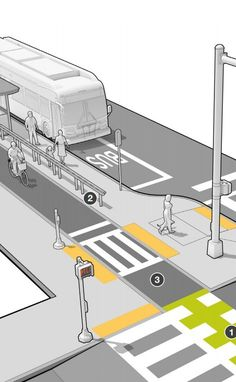 Detail of floating bus stop from Mass DOT's Separated Bike Lane Guide. Landscape Diagram, Landscape And Urbanism, Urban Landscape, Landscape Design, Architecture Courtyard, Architecture Design, Bus Stop Design, Plan Maestro, Urban Concept