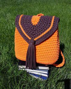 Купить Стильный вязаный рюкзачок Orange из трикотажной пряжи - рыжий, рюкзак, рюкзачок, вязаный рюкзак