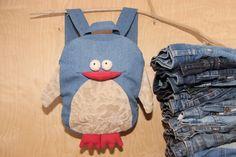 Penguin backpack, denim backpack , upcycled denim backpack , jeans kids toddler backpack , funy backpack , denim bag , childrens backpack by SecondBirthday on Etsy