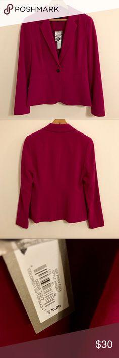APT9 Fiery Fuchsia 1 Button Blazer (6) Size 6. Brand new with tags. A very unique fuchsia blazer!! 62% polyester, 34% rayon, 4% spandex. Apt. 9 Jackets & Coats Blazers