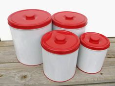 1950s Decoware Canister Set // Mid Century Kitchen Storage Tins // Red & White Vintage by SunsetStreet, $32.00