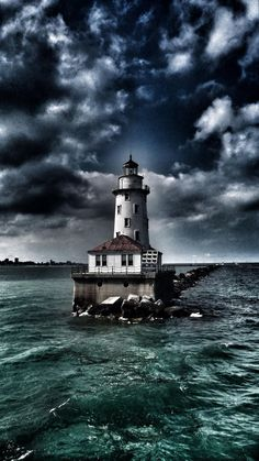 via Lighthouse… Chicago, IL = Imgend.beautiful with the clouds. Magic Places, Beautiful Places, Beautiful Pictures, Lighthouse Pictures, Parasols, Beacon Of Light, Belle Photo, Cool Photos, Scenery