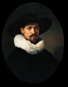 1633: Rembrandt, Portrait of a bearded man in a wide-brimmed hat, possibly Pieter Sijen.    Portret van een man met baard en een hoed met brede rand,  misschien Pieter Sijen.