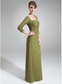 Sheath/Column Square Neckline Floor-Length Beading Sequins Zipper Up Sleeves 3/4 Sleeves No Other Colors Fall General Plus Chiffon Mother of the Bride Dress