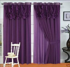 NEW 6 Pcs Victorian Style Curtain Set 2 Panels Attached Valance U0026 Liner  PURPLE