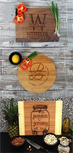 Gorgeous custom engraved cutting boards made with the wood of your choice. These can be personalized with your name, monogram, or a special date. | Made by people who care on Hatch.co