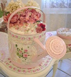 Pale #pink #mosaic watering can for a #shabby garden.