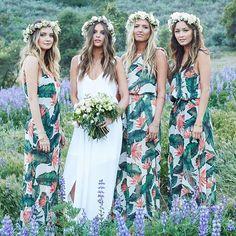 Floral print bridesmaids