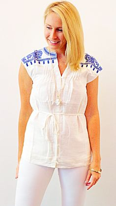 MEXICAN TUNIC - WHITE + BLUE
