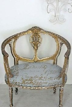 sedia francese con tessuto della Caroline Quatermaier
