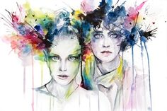 Video by Agnes Cecile Beautiful Speed painting by a truly talented artist. Artist material and Painting time: Watercolor, pencil, pen, and ink on wa Watercolor Portraits, Watercolor And Ink, Watercolor Paintings, Watercolors, Watercolor Splatter, Abstract Watercolor, Art And Illustration, L'art Du Portrait, Agnes Cecile