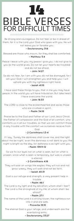 Passages from the Bible to help comfort the soul and remind you to put your faith in Him...