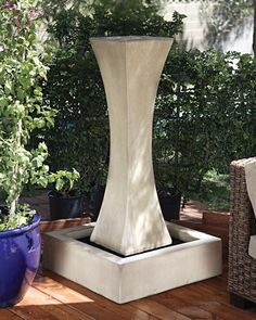 The I Outdoor Fountain from the Gist Fountain Collection is the perfect outdoor water fountain for your garden setting.  This glass fiber reinforced concrete water feature is available in 35 different finishes. Dimensions:  59
