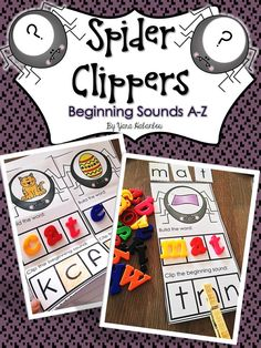Beginning Sounds Spider Clippers A-Z. Students clip the beginning sounds and look at the photo on the spider and then build the word using letter tiles / writing the word.