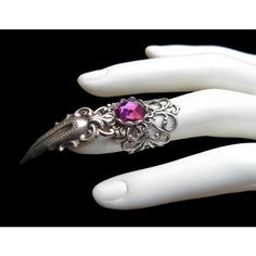 Silver Plated Claw Ring Gothic Goth Gothik Jewel Vampire Witch Finger... ($20) ❤ liked on Polyvore featuring jewelry, rings, cat jewelry, goth jewelry, gothic claw ring, cat ring and jewel rings