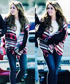 Miley cyrus I love this cardigan and jeans .. Oh that beautiful hair!