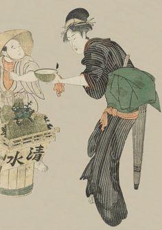 Woman Buying Water from a Street Vendor.   Ukiyo-e woodblock print.  1810's, Japan.  Artist Utagawa Toyokuni I