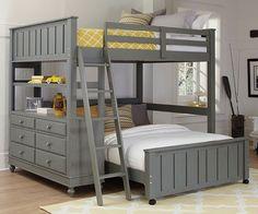 NE Kids 2045 Stone finish loft bed full over full
