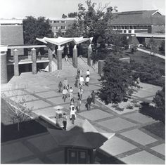 Alma College campus: Archival photographs.  The way it looked when I was at Alma 1971-72.  Shows McIntyre Mall, Clark Art Center, the Library, and Newberry Residential Hall.
