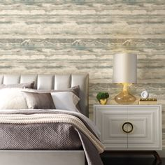 Premium Peel and Stick. Matte finish.  Made in USA. $50. Candice Olson. Coastal Chic. Industrial Chic. #BuyAmerican #DIY #CandiceOlson #SimplyCandice #homedecorideas #removablewallpaper Tranquil Bedroom, Candice Olson, High Tide, Burke Decor, Interior Decorating, Interior Design, Peel And Stick Wallpaper, Soft Colors, Your Space