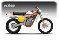 KTM Classic based on the KTM Freeride 350 (Motosketches: January Concept Motorcycles, Custom Motorcycles, Custom Bikes, Enduro Motorcycle, Motorcycle Design, Desert Sled, Ktm, Classic Series, Vintage Bikes