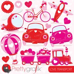 Valentine transport ClipartValentine transport clipart set! This vector clipart set is suitable for invitation making , embroidery digitizing , scrapbook and all your crafting.