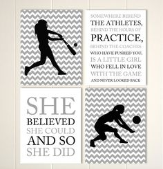 Girls sports wall art, volleyball girls wall art, softball girls art, tween girl…