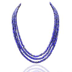 Shubham Jewels Blue Lapis Lazuli Multi Strand Gemstone Necklace for Women. Light Weight. Occasion: Party / Functions. Perfect gift for yourself or your loved ones. Fashionable Necklace. Product colour may slightly vary due to photographic lighting sources or your monitor settings.