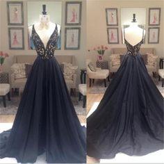 Black A-line Elegant Deep V-Neck Prom Dresses, Black Long Evening Party Dresses, Long Prom Dress,Prom Dresses Online