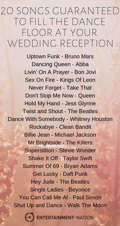 20 Songs Guaranteed To Fill The Dance Floor At Your Wedding Reception! wedding dance floors 20 Songs To Fill The Dance Floor At Your Wedding Reception Wedding Song Playlist, Wedding Song List, Wedding Dance Songs, First Dance Songs, Good Wedding Songs, Dance Music Playlist, Father Daughter Dance Songs, Dance Songs Party, Wedding Kissing Games