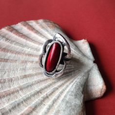 Vintage modernist red enamel ring Scandinavian Modern, Brutalist, Vintage Gifts, Enamel, Jewellery, Rings, Red, Style, Fashion