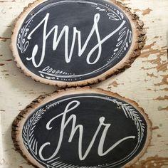 trunk slices as chalkboards, Mr & Mrs // chalkboard signs/chair backs via lindsay letters