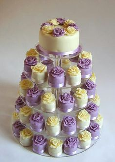 Wedding Cakes With Cupcakes Yellow 60 Ideas Mini Wedding Cupcakes, Purple Wedding Cakes, Lilac Wedding, Yellow Wedding, Lavender Weddings, White Weddings, Wedding Colors, Wedding Cake Prices, Wedding Cake Designs