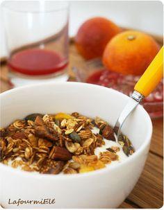 #Granola maison au graines de lin, courge, tournesol, flocon d'avoine, mangues, figues. #petitdéjeuner #dessert