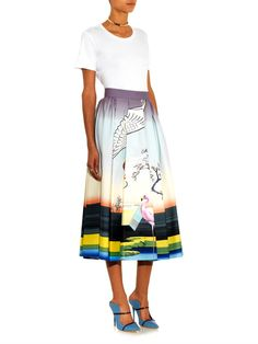 Mary Katrantzou Bowles flamingo-print midi skirt
