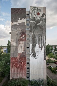 Street art by Borondo WILLKOMMEN REFUGEES June 2016, Tegel, Berlin, Borondo was invited by Urban Nation