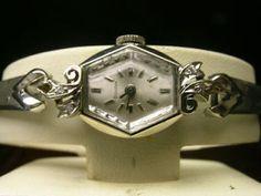 "DIAMONDS & DECO LADIES BULOVA ""FIRST LADY""14K WHITE GOLD COCKTAIL WATCH"