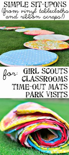 Diy Projects: DIY Simple Round Situpons from Vinyl Tablecloth Girl Scout Swap, Girl Scouts, Picnic Blanket, Outdoor Blanket, Creative Gifts, Creative Ideas, Vinyl Tablecloth, Easy Diy Crafts, Clever Diy