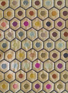 Pelangi Silk Fabric A favourite Osborne & Little silk of multi coloured stripey spots in a honeycomb design.