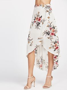 To find out about the Beige Floral Print Dip Hem Wrap Skirt at SHEIN, part of our latest Skirts ready to shop online today!